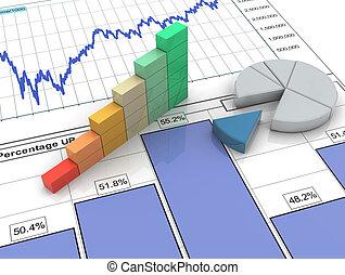 relazione, sbarra, 3d, finanziario, progresso