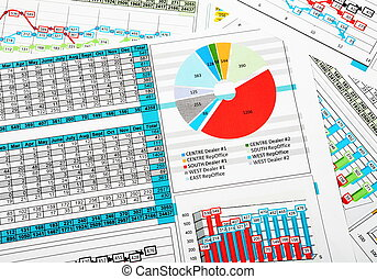 relazione, statistica, vendite, affari, tabelle