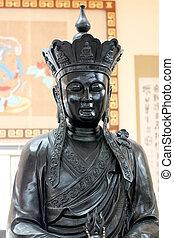 religion., divinità, statue, cinese, nero