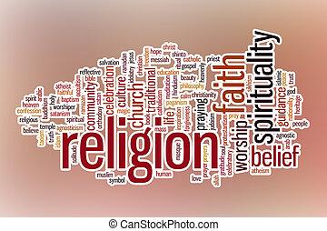 religione, astratto, parola, nuvola, fondo