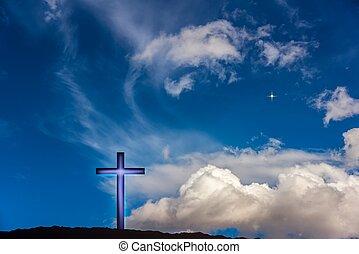 religione, forma, natura, croce, celeste, drammatico, simbolo, fondo