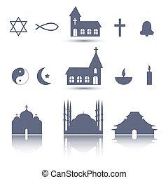 religione, icone, set