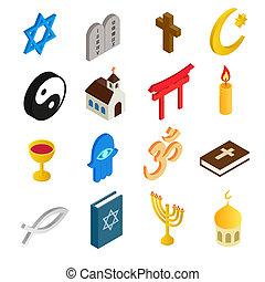 religione, isometrico, set, 3d, icone