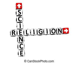 religione, scienza, sopra, fondo., bianco, o, 3d