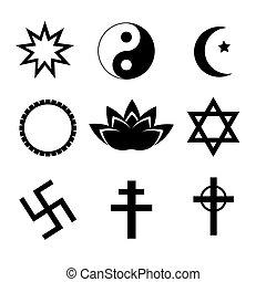 religione, simbolo, vettore, set., icone