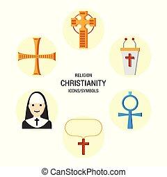 religione, vettore, set, icone