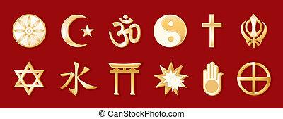 religioni mondo, sfondo rosso