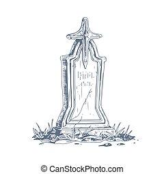 religioso, art., fondo, cross., isolato, pietra, lapide, cimitero, vendemmia, pietra tombale, antico, bianco, vecchio, style., illustrazione, hand-drawn, vettore, medievale, funerale, schizzo, pietra tombale