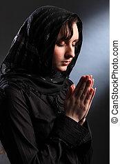 religioso, spirituale, donna meditando, adorare