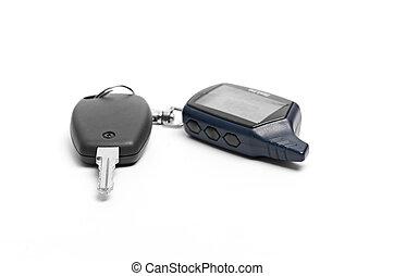 remoto, fondo, automobile, isolato, chiave, bianco
