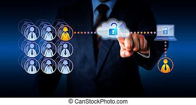 remoto, lavoratore, accesso, direttore, sbloccando, nuvola