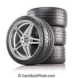 render, automobile, quattro, tires., nuovo, baluginante, wheels., 3d
