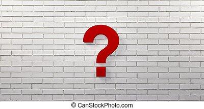 render, domanda, illustrazione, marchio, wall., rosso, 3d