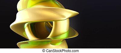 render, interpretazione, curvy, neon, riflessioni, 3d, geometrico, composizione, minimalistic, disegno, illustrazione, forme, giallo, forma, rond