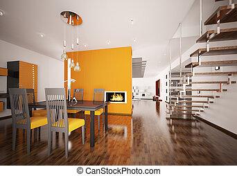 render, moderno, interno, arancia, cucina, 3d