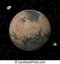 render, phobos, -, deimos, pianeta, marte, satelliti, 3d