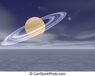 render, -, pianeta, saturno, sogno, paesaggio, 3d