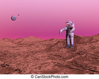 render, -, pianeta, uomo, marte, 3d, primo