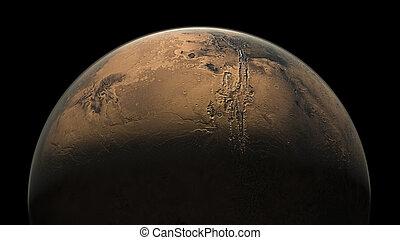 render, sistema, pianeta, solare, marte, 3d