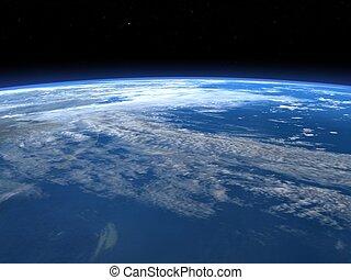 render, spazio, -, pianeta, orizzonte, terra, 3d