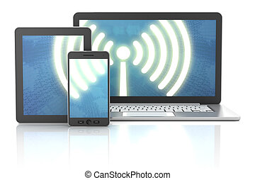 render, tavoletta, laptop, collegamento, fili, smartphone, 3d