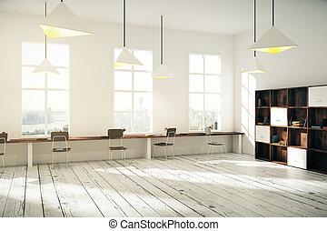 render, ufficio, legno, grande, soleggiato, creativo, windows, interno, pavimento, desktop, 3d
