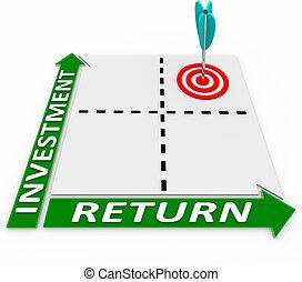rendere massimo, ritorno, matrice, tuo, freccia, investimento