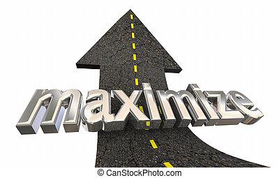 rendere massimo, successo, su, illustrazione, aumento, freccia, più alto, strada, 3d