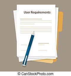 requisiti, specifications, lavoro, carta, utente, documento