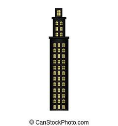 residenza, torre, pavimenti, parecchi