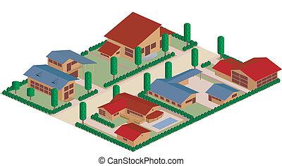 residenziale, cartone animato, distretto