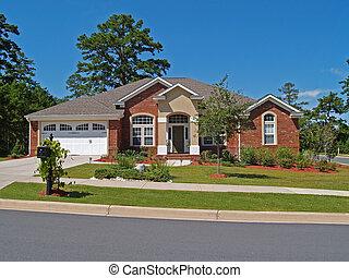residenziale, singolo, storia, mattone, casa