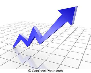 reso, affari, grafico, chart., freccia, concettuale, 3d