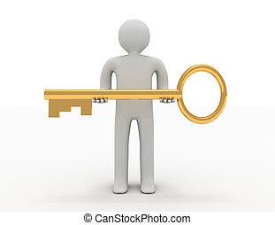 reso, grande, illustrazione, key., 3d, uomo