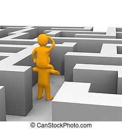 reso, illustration., labyrinth., attraverso, risultato, percorso, 3d