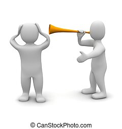 reso, illustration., orecchie, contro, suo, protezione, vuvuzela, uomo, noise., 3d