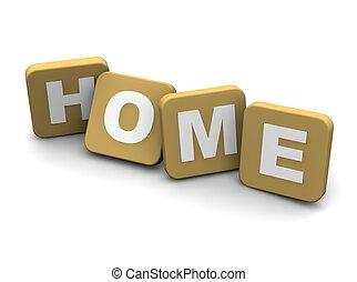 reso, text., isolato, illustrazione, white., casa, 3d