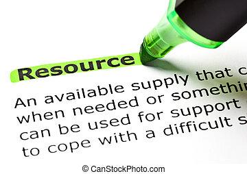 'resource', evidenziato, verde