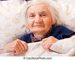 resti, solitario, donna, letto, anziano