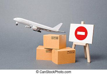 restrizioni, pandemic., beni, esportazione, periodo, scarso, aereo, bordo, carico, restrizione, quarantena, scatole, chiusura, segno., ostacolo, medico, cavalletto, globalizzazione