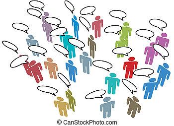 rete, colorito, persone, media, discorso, sociale, riunione