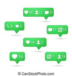 rete, come, sociale, includere, set, media, icons., vettore, seguire