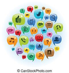 rete, conversazione, sociale