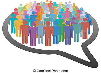 rete, folla, persone, media, discorso, sociale, bolla