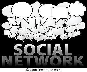 rete, media, discorso, sociale, bolla, nuvola