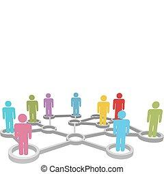 rete, persone affari, diverso, collegare, sociale, o
