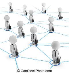 rete, persone affari, -, piccolo, 3d