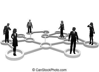 rete, persone affari, silhouette, collegato, nodi
