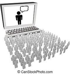 rete, persone, orologio, pubblico, computer, sociale, monitor
