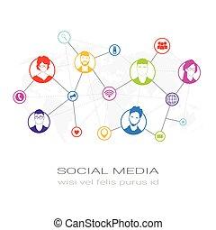 rete, profilo, silhouette, persone, comunicazione, utenti, colorito, icone, media, concetto, collegamento, sociale